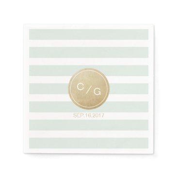 Beach Themed Color editable minimalist modern wedding monogram paper napkin