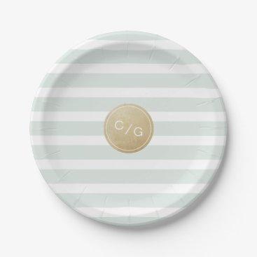 Beach Themed Color editable minimalist modern wedding monogram paper plate