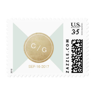 Color editable minimalist modern wedding monogram postage