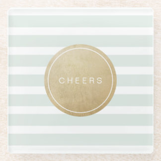 Color editable modern simple cheers mint stripes glass coaster