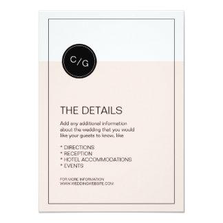 Color editable modern wedding details card
