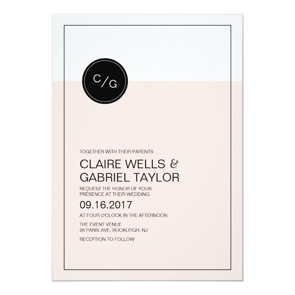 Color editable simple modern wedding invitation