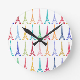 color eiffel towers pattern round clock