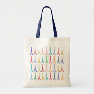color eiffel towers pattern tote bag