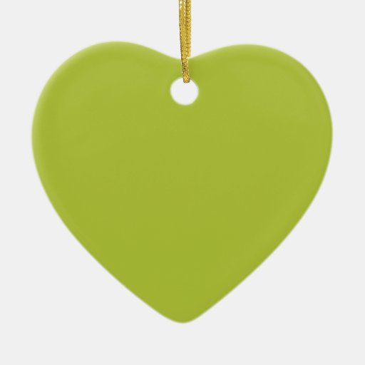 Color elegante verde ácido de la moda adorno navideño de cerámica en forma de corazón