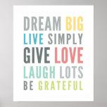 Color en colores pastel de la tipografía positiva póster