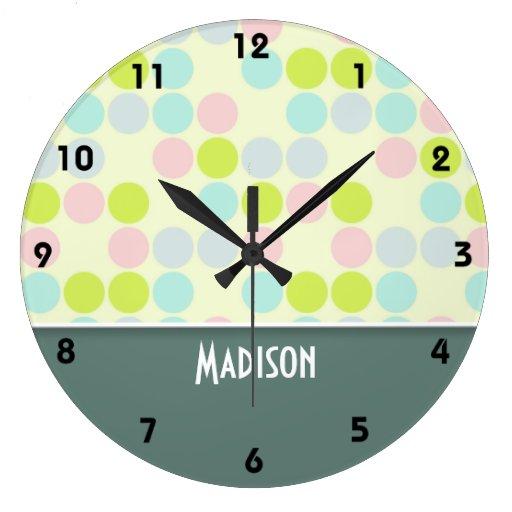 Color en colores pastel lindo relojes de pared