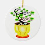 Color enorme del pote de los bonsais azotados por  adorno de reyes