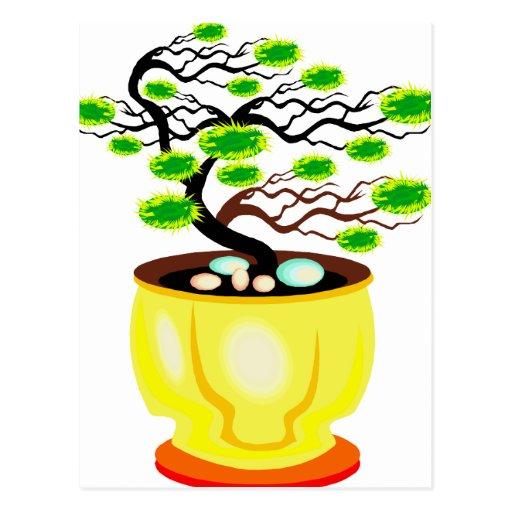 Color enorme del pote de los bonsais azotados por  postales