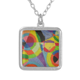 Color Explosion by Robert Delaunay Square Pendant Necklace
