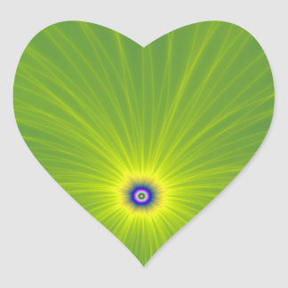Color Explosion in Green and Yellow Heart Sticker