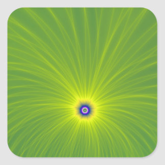 Color Explosion in Green and Yellow Square Sticker