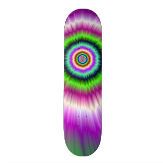 Color Explosion in Pink and Green Skateboard