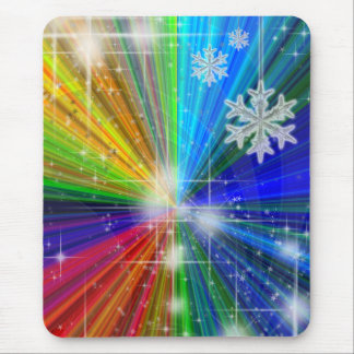Color Explosion with Snowflakes and Stars Mouse Pad