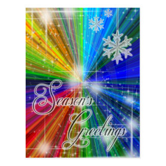 Color Explosion with Snowflakes and Stars Postcard