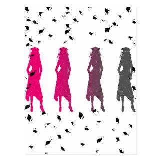 Color Fade Girl Grad Silhouettes Postcard
