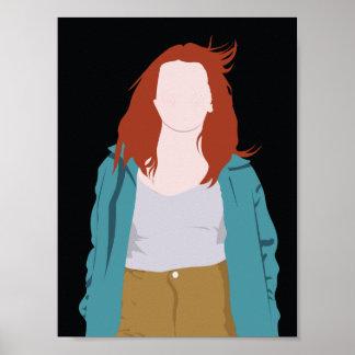Color Fashion Silhouette (Redhead) Poster