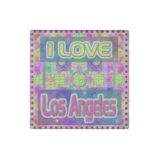 "Color Fest: ""I LOVE Los Angeles"" Marble Stone Stone Magnet"