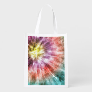 Color Filled Tie Dye Grocery Bag