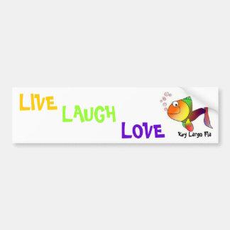 color fish, LIVE, LAUGH, LOVE, Key Largo Fla Bumper Sticker