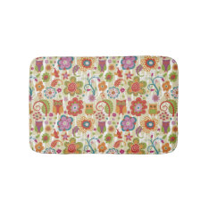 Color Floral and Owl Bathroom Mat at Zazzle