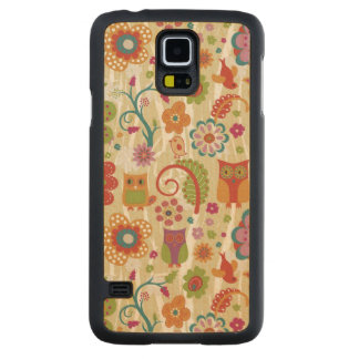 Color Floral and Owl Carved Maple Galaxy S5 Slim Case
