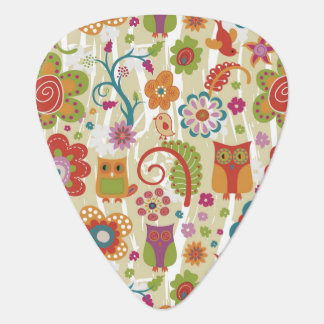 Color Floral and Owl Guitar Pick