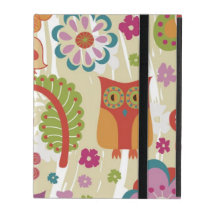 Color Floral and Owl iPad Folio Case