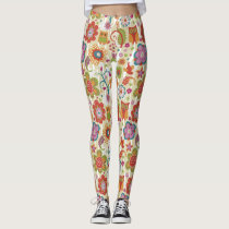 Color Floral and Owl Leggings