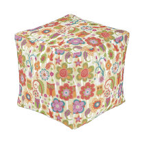 Color Floral and Owl Pouf