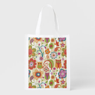 Color Floral and Owl Reusable Grocery Bags