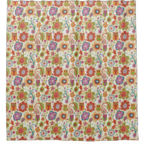 Color Floral and Owl Shower Curtain