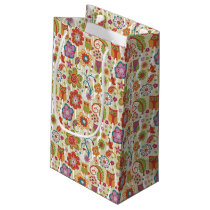 Color Floral and Owl Small Gift Bag