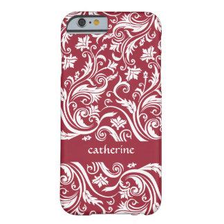 Color floral del personalizado de los remolinos de funda de iPhone 6 barely there