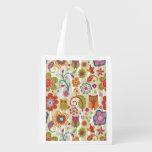 Color floral y búho bolsas para la compra