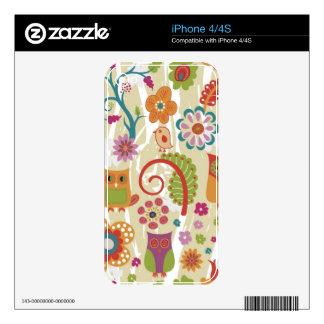 Color floral y búho calcomanías para el iPhone 4
