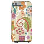 Color floral y búho funda de iPhone 6 tough