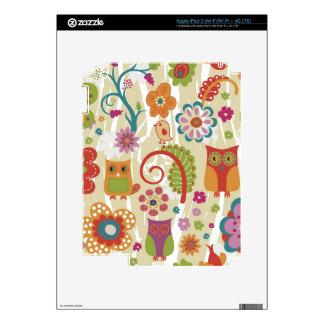 Color floral y búho iPad 3 pegatina skin