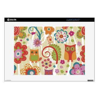 Color floral y búho portátil 38,1cm skins