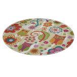 Color floral y búho tabla de cortar