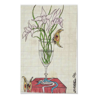 Color flowers in glass poster
