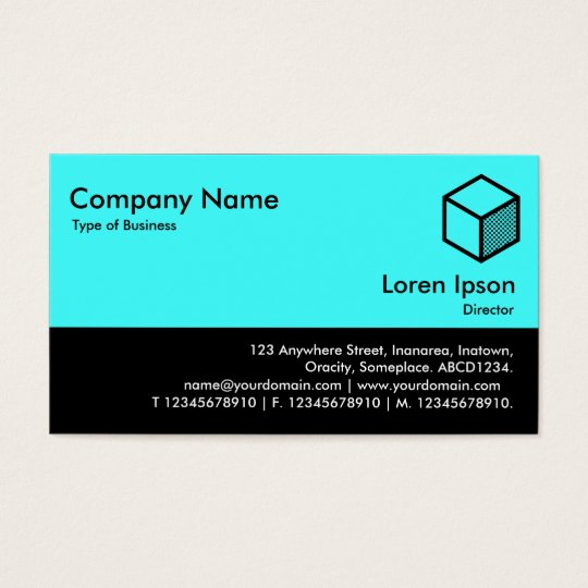 Color Footer - Ice Blue and Black Business Card
