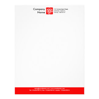 Color Footer - Red Letterhead Template