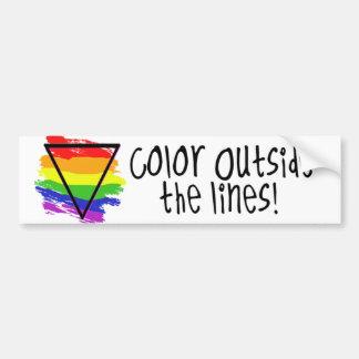 Color fuera de las líneas pegatina de parachoque