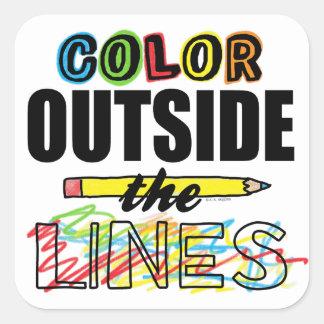 Color fuera de las líneas pegatina cuadrada