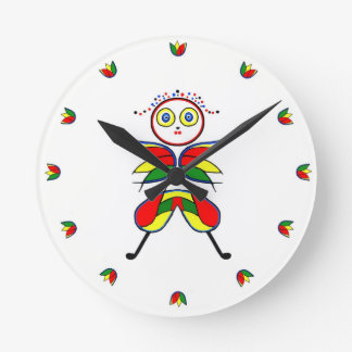 Color Girl Round Wall Clocks