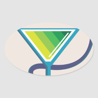 Color Glass with Snake Poison Medicine Oval Sticker