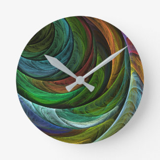 Color Glory Abstract Art Round Round Wall Clocks
