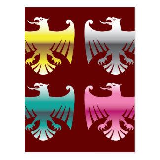 Color Glossy Chrome Eagles Vector Art Postcard