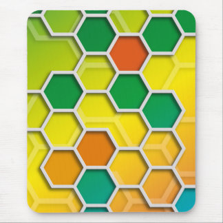 color graphic hexagon mouse pads